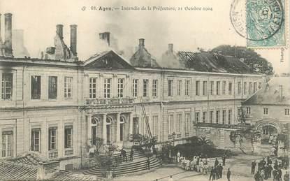 """CPA FRANCE 47 """"Agen, incendie de la Préfecture, 1904"""""""