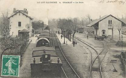"CPA FRANCE 46 ""Gramat, la gare"" / TRAIN"
