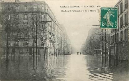 "CPA FRANCE 92 ""Clichy, inondations 1910, Bld National pris de la mairie"""