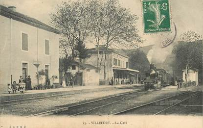 "CPA FRANCE 48 ""Villefort, la gare"" / TRAIN"