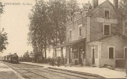 """/ CPA FRANCE 71 """"Fontaines, la gare"""""""