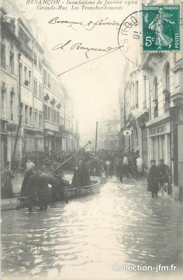 Cpa france 25 besan on grande rue inondations 25 for 25 besancon