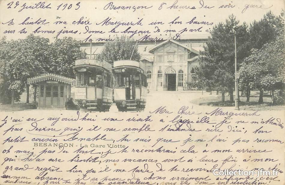 Cpa france 25 besan on la gare viotte tramway 25 for 25 besancon