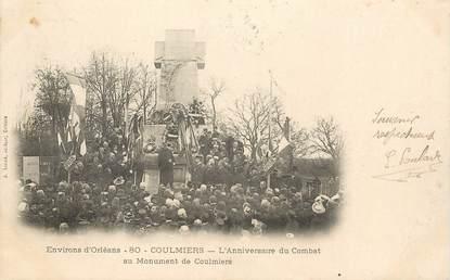 """CPA FRANCE 45 """"Env. d'Orléans, Coulmiers, monument aux morts"""""""