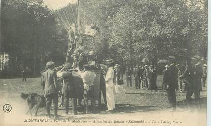 """CPA FRANCE 45 """"Montargis, fêtes de la Madeleine, ascension du ballon Salammbô"""""""