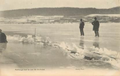 """/ CPA FRANCE 25 """"Patinage sur le lac de Saint Point"""""""