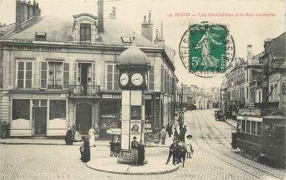 """/ CPA FRANCE 51 """"Reims, les six cadrans et la rue Gambetta"""""""
