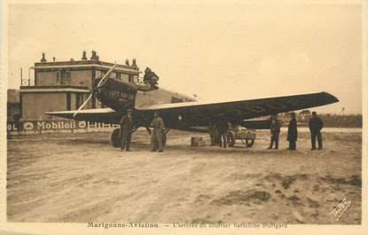 "/ CPA FRANCE 13 ""Marignane aviation, l'arrivée du courrier Barcelone Stuttgard"""