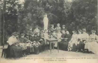 """CPA FRANCE 42 """"Saint Julien Molin Molette, congrès eucharistique, 1910, les ouvrières"""""""
