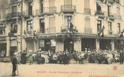 """CPA FRANCE 90 """"Belfort, place de la République, Café glacier"""""""