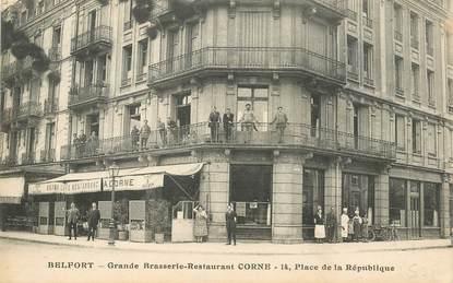 """CPA FRANCE 90 """"Belfort, Grande brasserie Corne, Place de la République"""""""