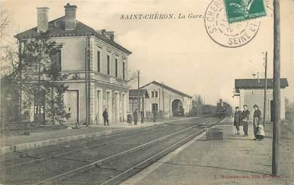 """CPA FRANCE 91 """"Saint Chéron, la gare"""" / TRAIN"""