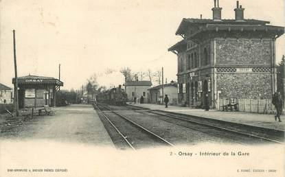 """CPA FRANCE 91 """"Orsay, intérieur de la gare"""" / TRAIN"""