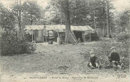 "CPA FRANCE 91 ""Montgeron, Forêt de Sénart, habitations de bûcherons"""