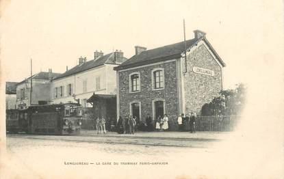 "CPA FRANCE 91 ""Longjumeau, la gare du Tramway Paris Arpajon"" / TRAIN"