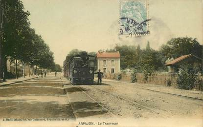 """CPA  FRANCE 91 """"Arpajon, le tramway"""""""