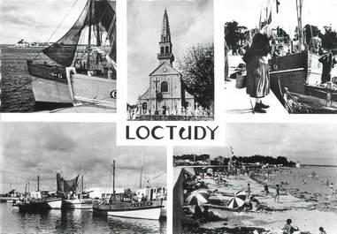 """/ CPSM FRANCE 29 """"Loctudy, l'église, la grande plage et le port de pêche"""""""