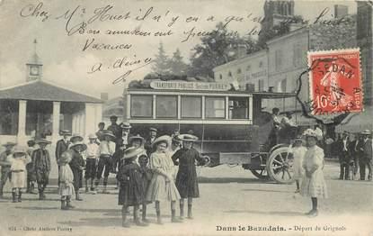 """CPA FRANCE 33 """"Bazas, Dans le Bazadais, départ de Grignols"""" / BUS"""