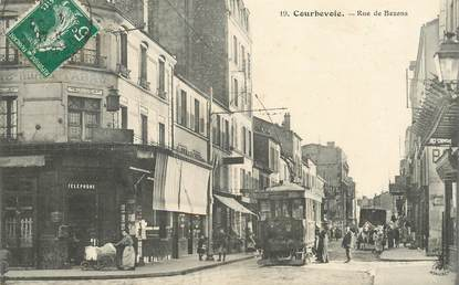 "CPA FRANCE 92 ""Courbevoie, rue de Bezons"" / TRAMWAY"