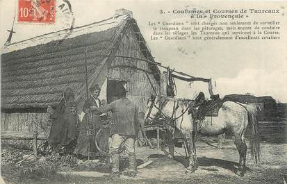 """/ CPA FRANCE 13 """"Coutumes et courses de taureaux à la provençale"""""""