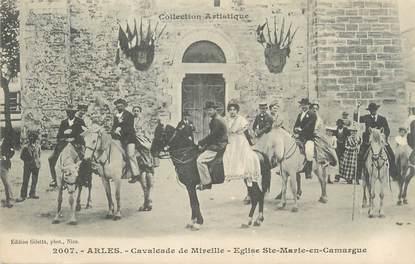 "/ CPA FRANCE 13 ""Arles, cavalcade de Mireille, église Sainte Marie en Camargue"""