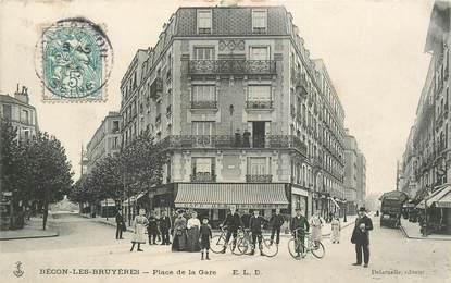 """CPA FRANCE 92 """"Bécon les Bruyères, Place de la gare"""""""
