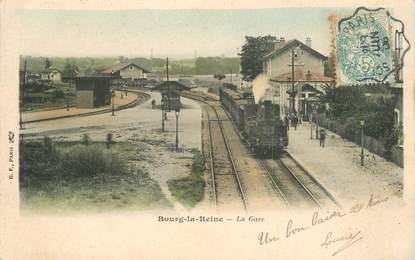 "CPA FRANCE 92 ""Bourg la Reine, la gare"" / TRAIN"