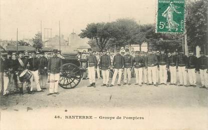 """CPA FRANCE 92 """"Nanterre, groupe  de pompiers"""""""