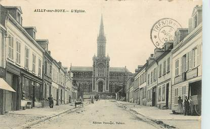 """CPA FRANCE 80 """"Ailly sur Noye, Eglise, Quincaillerie"""""""