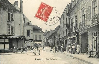 "CPA FRANCE 71 ""Chagny, rue du Bourg, Café du centre, Tabacs"""