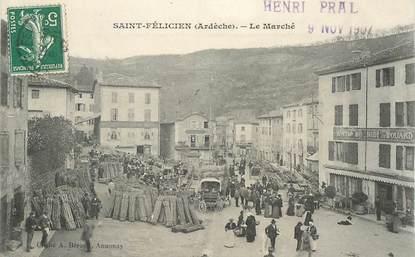"""CPA FRANCE 07 """"Saint Félicien, le Marché"""""""