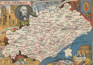 "/ CPSM FRANCE 34 ""Hérault"" / CARTE  GEOGRAPHIQUE"