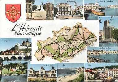 """/ CPSM FRANCE 34 """"L'Hérault touristique"""" /  CARTE GEOGRAPHIQUE"""