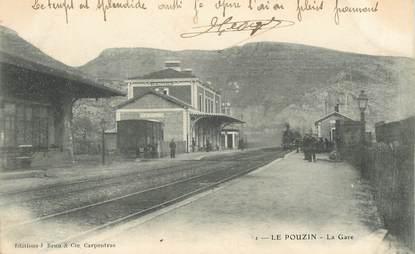 """CPA FRANCE 07 """"Le Pouzin, la gare"""" / TRAIN"""