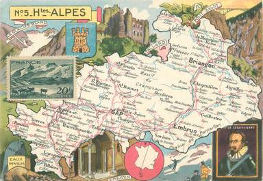 "/ CPSM FRANCE 05 ""Hautes Alpes""  /  CARTE GEOGRAPHIQUE"