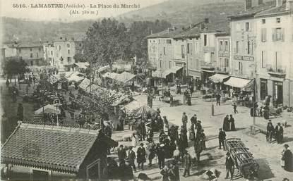 """CPA FRANCE 07 """"Lamastre, la place du Marché"""""""