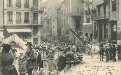 """CPA FRANCE 07 """"Annonay, place de la Liberté, le marché"""""""