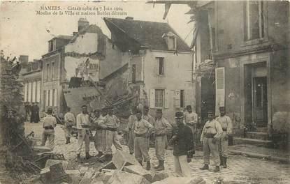 """CPA FRANCE 72 """"Mamers, catastrophe du 7 juin 1904, moulin de la ville et maison Boblet détruits"""""""