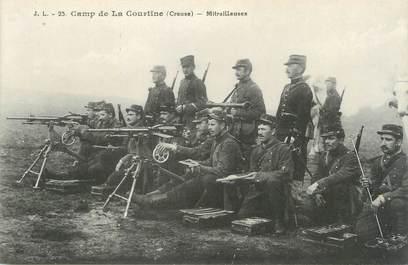 """/ CPA FRANCE 23 """"Camp de La Courtine, mitrailleuses"""" / MILITAIRES"""
