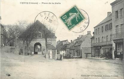 """/ CPA FRANCE 23 """"Crocq, place de la Halle"""""""