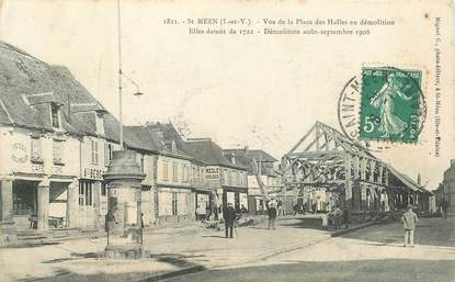 """CPA FRANCE 35 """"Saint Méen, la place des Halles en démolition"""""""