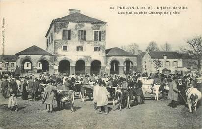 """CPA FRANCE 35 """"Plélan, Hotel de ville, les halles et le champ de foire"""""""