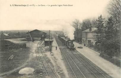 """CPA FRANCE 35 """"L'Hermitage, la gare"""" / TRAIN"""