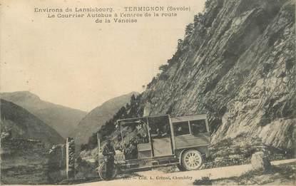 """CPA FRANCE 73 """"Env. de Lanslebourg, Termignon, le courrier Autobus à l'entrée de la route de la Vanoise"""""""