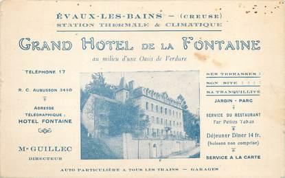"""/ CPA FRANCE 23 """"Evaux Les Bains, grand hôtel de la Fontaine"""""""