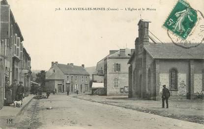 """/ CPA FRANCE 23 """"Lavaveix les Mines, l'église et la mairie"""""""