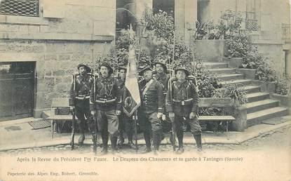 """CPA FRANCE 73 """"Après la Revue du Président Félix Faure, Taninges"""" / CHASSEUR ALPIN"""