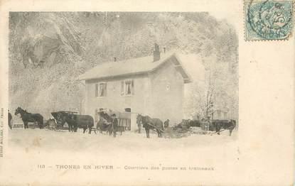 """CPA FRANCE   74 """"Thones, en hiver, courriers des postes en traineaux"""""""