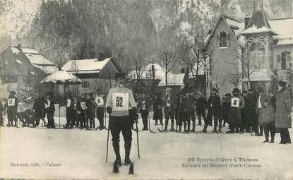 """CPA FRANCE   74 """"Thones, skieurs au départ d'une course"""""""