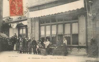 """CPA FRANCE 34 """"Olonzac, place du Marché"""""""